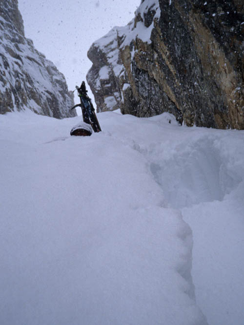 Andrew McLean in a secret couloir