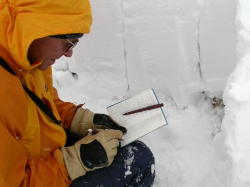 Professional Avalanche Forecaster, Bruce Tremper, applying some science to the snowpack.