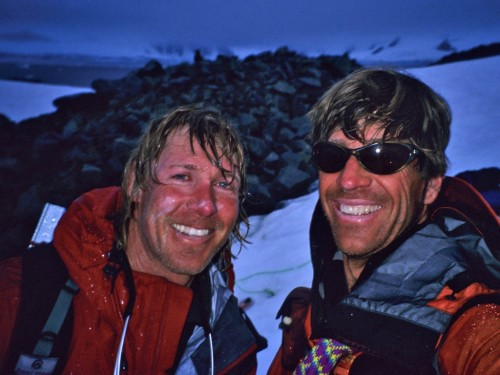 Skiin' in the rain on Anvers Island, Antarctica with Doug Stoup. We were smiling as we were just about to get into the tent after a very wet day.