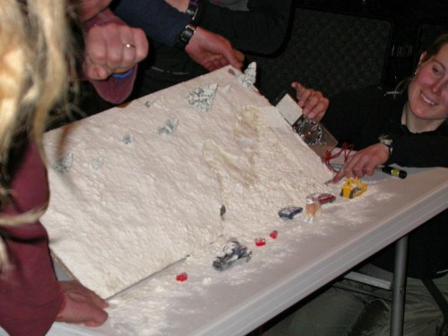 One of my all time favorite avalanche education tools was this demonstration by the Alaska Avalanche School where layers of flour and sand are piled up on a flat board, which is then tipped up to 38 degrees where it rips loose and crushes the toys below.