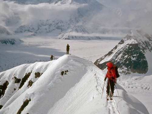 Taking the morale high ground on avalanches by staying above their starting zone.  Thunder Mountain, Alaska Range, AK. 2003