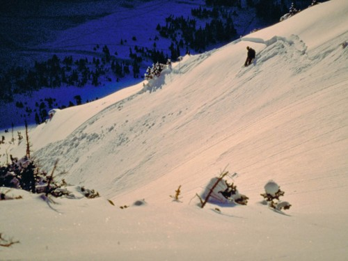 An early morning avalanche.  At the time, avoiding getting swept down in the debris seemed like it was based on skill.  18 years later, I think it had as much to do with luck as anything!  Photo by Doug Hall.