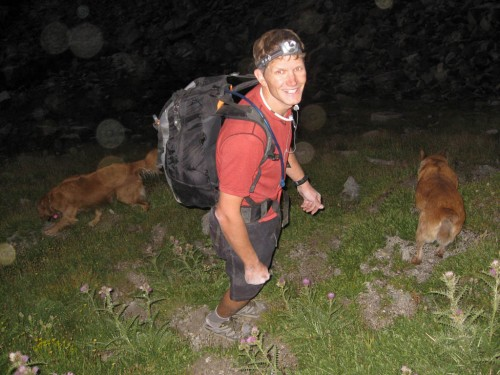 "Yea, tho I walk through the valley of Snakes and Dogs, I fear no darkness as I have a headlamp.""  Brad beginning the walk down from Lone Peak Cirque at 9:00pm."
