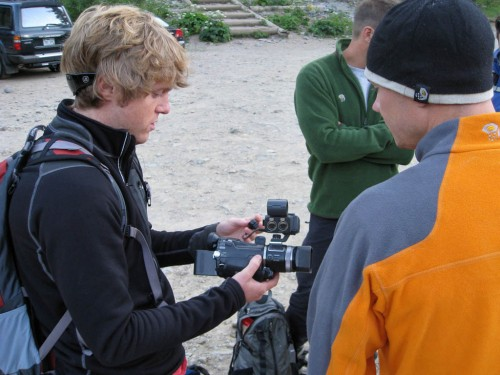 Ryan Ross of Serac Adventure Films explains which end of the camera is forward to Freddie Wilkinson.