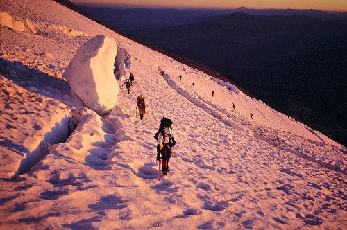 Climbing Mt. Shasta at first light.  It's almost a crime to do this without skis...