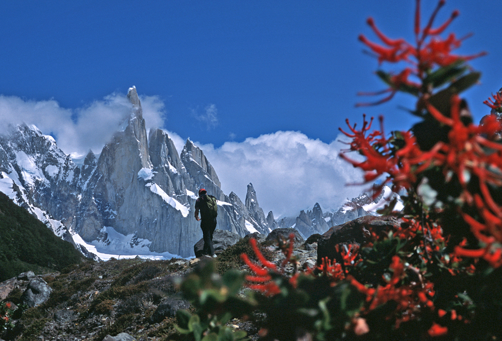 Ben Ditto hiking in Patagonia.