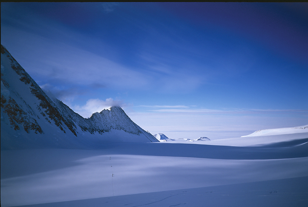 Skiers crossing the Dater Glacier in Antarctica on their way to the summit of the Vinson massif.