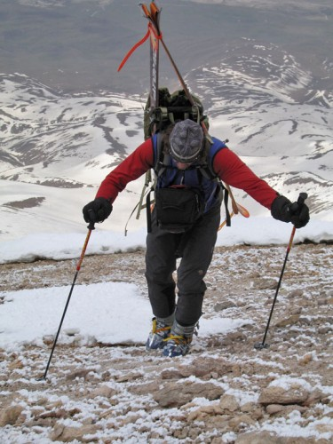 Skin if you can... boot if you must.  Greg VonDoersten punching out the final feet to the summit of Mt. Damavand, Iran.