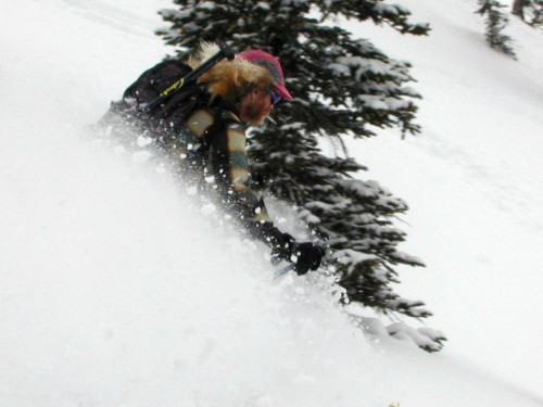 One of my earliest photos of Bob skiing.  This was the last shot my first digital camera ever took.